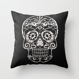 Skull 04,black silver metal art Throw Pillow