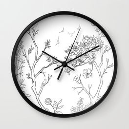 Color Your Own Chinoiserie Panels 1-2 Contour Lines - Casart Scenoiserie Collection Wall Clock