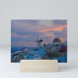 Santorini, Oia Greece, Windmill Sunrise Mini Art Print
