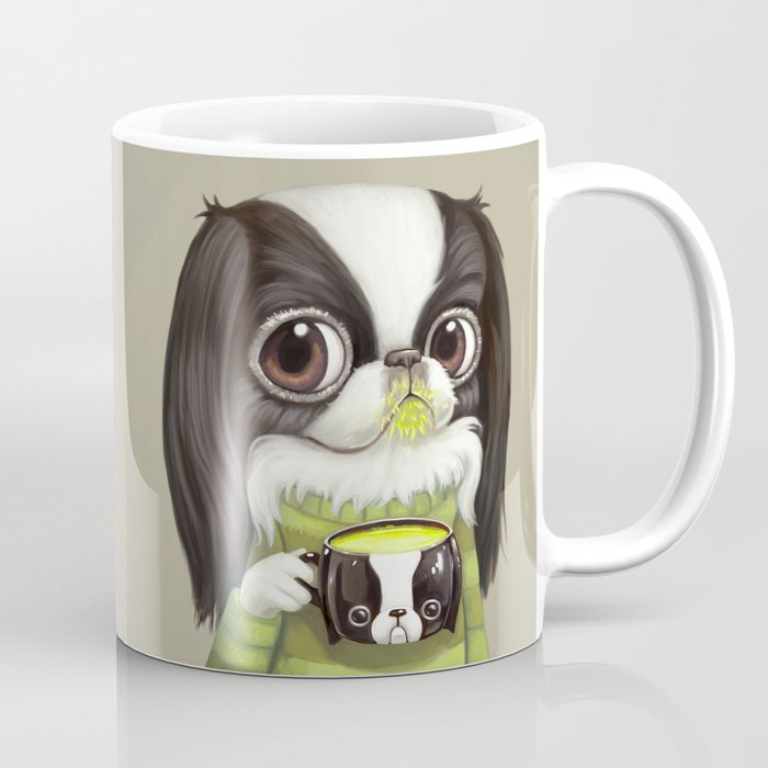 Japanese Chin Sips Matcha Latte Coffee Mug