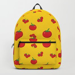 Red Tomatoes Pattern On Yellow Backpack
