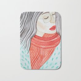Beautiful lady with closed eyes in a red scarf wearing eyeglasses. Watercolor illustration. Bath Mat