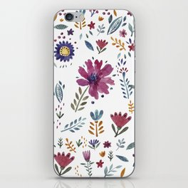 Watercolor Flowers White iPhone Skin
