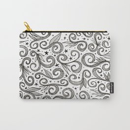 black and white spiral pattern with leaves Carry-All Pouch