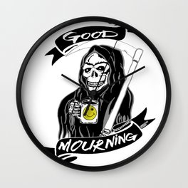 Good Mourning V2 Skulls and Coffee Wall Clock