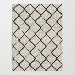Black Bege Modern Lines Pattern Poster