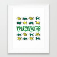 keith haring Framed Art Prints featuring PURE (Keith Haring Tribute) by Kerosene Bill