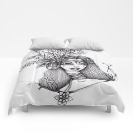 JennyMannoArt Graphite Illustration/Giselle the woodland fairy Comforters