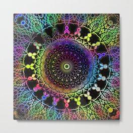 Rainbow Kaleidoscope Mandala Metal Print