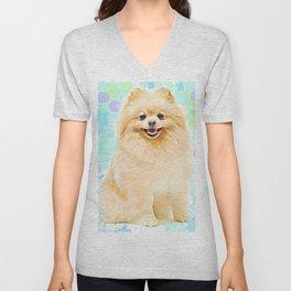 Cute Pomeranian Puppy Dog Unisex V-Neck