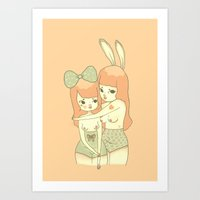 bunnies Art Prints featuring Bunnies by Mel Stringer