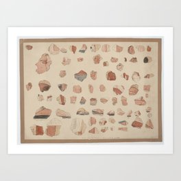 Painted plaster fragments from Amarna, 1930s Art Print