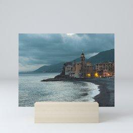The bay of Camogli by night Mini Art Print