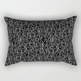 Mini Elio Ink Shirt Faces in White Outlines on Black CMBYN Rectangular Pillow