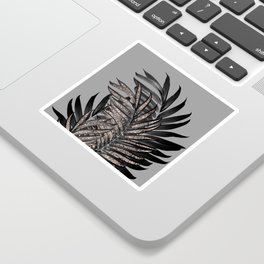 Gray Black Palm Leaves with Rose Gold Glitter #1 #tropical #decor #art #society6 Sticker
