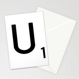 Letter U - Custom Scrabble Letter Tile Art - Scrabble U Initial Stationery Cards