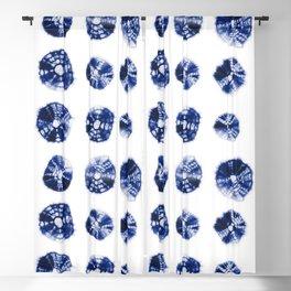 Shibori Kumo dots blue & white aligned Blackout Curtain