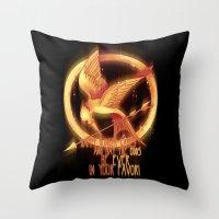 mockingjay Throw Pillows featuring Mockingjay by KanaHyde