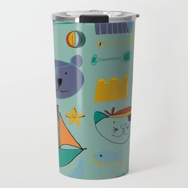 cat and bear at the beach blue green Travel Mug