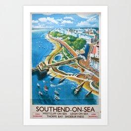 Southend-on-Sea Vintage Travel Poster Art Print