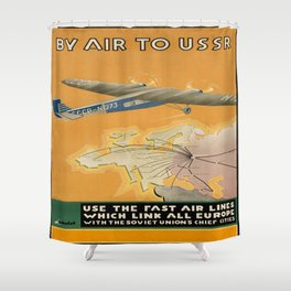 Vintage poster - By Air to USSR Shower Curtain