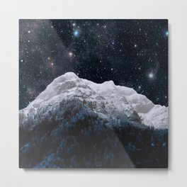 Mountains Attracts Galaxy Metal Print