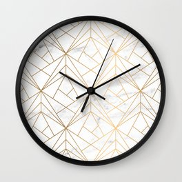 Marble, Geometry and Gold Wall Clock