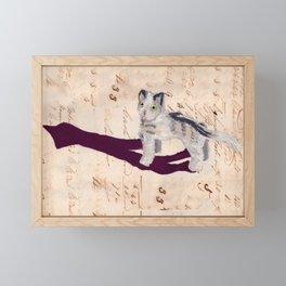 Vintage Fabric Stuffed Cat in Gouache Framed Mini Art Print
