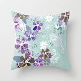 Summer blossom, blue and purple Throw Pillow