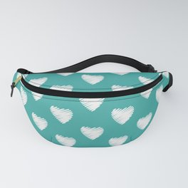 Pretty white love hearts on Teal Fanny Pack