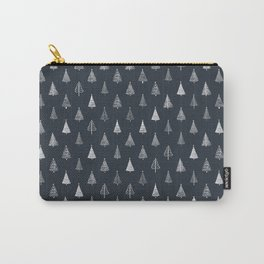 Rustic Christmas Trees on Black Carbon Carry-All Pouch