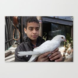 Palestinian Refugee holding a Dove Canvas Print