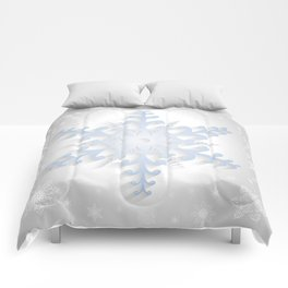 Paper snowflake with background Comforters