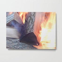 fire, burning, woods, wood, forest, black, fireplace, firewood, yellow, bright, energy, danger, heat Metal Print