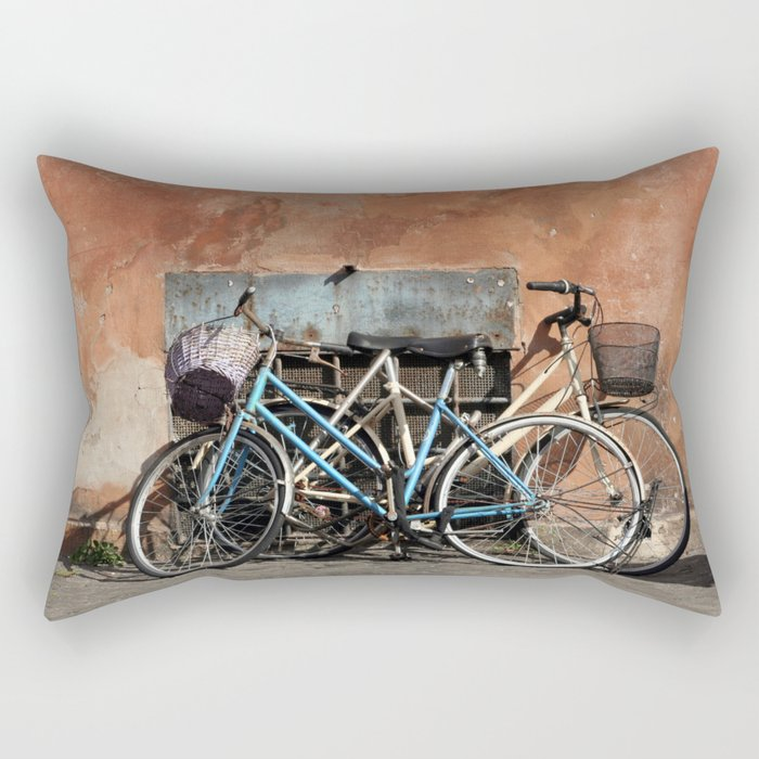 Two Bicycles against a wall Rectangular Pillow