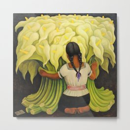The Cuauhnāhuac Calla Lily Vendor by Diego Rivera Metal Print