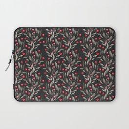 Modern pink red gray watercolor leaves berries pattern Laptop Sleeve