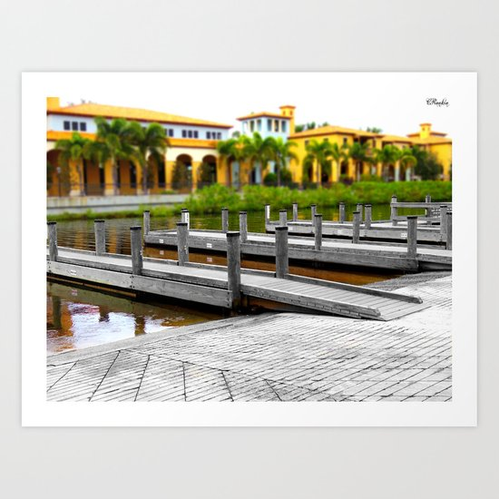 B&W Meets Color at the Water's Edge and the Lines Begin to Blur Art Print