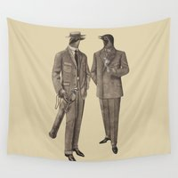 suits Wall Tapestries featuring Birds of a Feather by Terry Fan