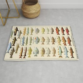 Illustrated Eastern Game Fish Identification Chart Rug
