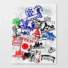 World City Traveling Stamps Canvas Print