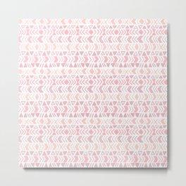 Muted Pink Boho Tribal Chevron Pattern Metal Print
