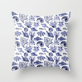 Vintage Nautical Illustrations in Blue Ink Throw Pillow