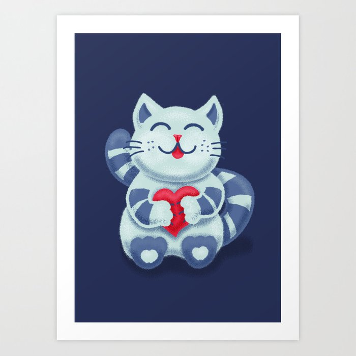 Cute Smiling Blue Kitty With Heart Art Print