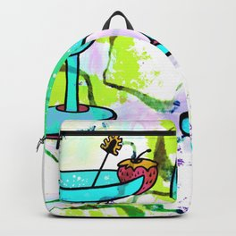 Summer Pool Party Cocktails , Watercolor Painting in Aqua Tequila Sunrise Colors Backpack