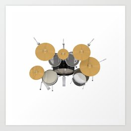 Black Drum Kit Art Print