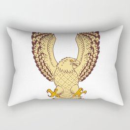 Osprey Swooping Motion Front Drawing Rectangular Pillow