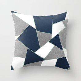 Navy Blue Gray White Mint Geometric Glam #1 #geo #decor #art #society6 Throw Pillow