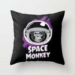 Space Monkey Retro Black Throw Pillow