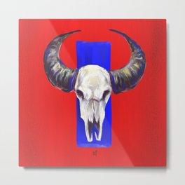Bison  skull: red, white & blue Metal Print